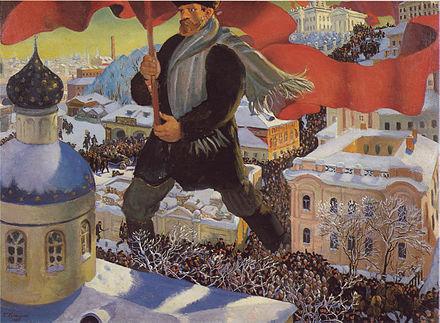 Oktoberrevolusjonen Kustodiev_The_Bolshevik
